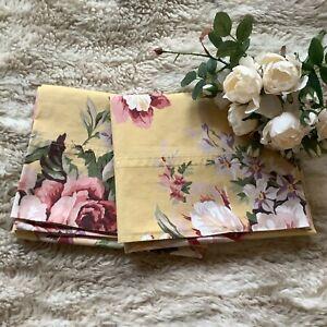 2 Vintage Ralph Lauren Kathleen rose floral yellow STANDARD pillow cases cottage