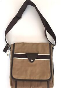NEW FOSSIL LANE CITY OLIVE GREEN NYLON+CANVAS,BROWN LEATHER,STRIPE CROSS BODY