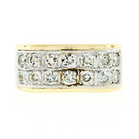 Vintage 2 Tone 18k Gold 0.65ctw Round Diamond 8.3mm Wide Dual Row Wave Band Ring