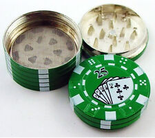 Green Poker Chips Stack 3-Layer Zinc Alloy 3 PCS Tobacco Spice Herb Tea Grinder