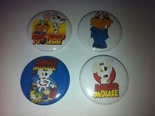 4 Danger Mouse and Penfold button badges 25mm cult retro 80s 90s kids TV UK USA