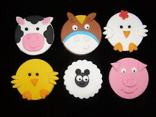 farm animal cupcake toppers x 6  ideal for birthdays