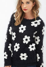 Forever 21 Fuzzy Daisy Sweater Mod Retro Twiggy Black Cream