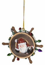 Christmas Ornament- Santa In Ships Wheel w/ Lights Double Sided Ornament