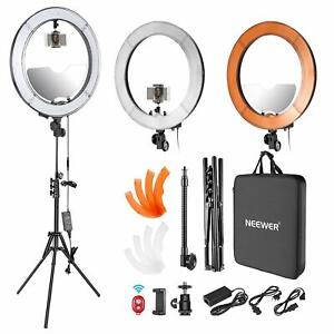 Neewer 10092634 18 inch Dimmable LED Ring Light with Light Stand and Mirror