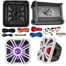 "Kicker S10L74 10"" Audio Subwoofer Speaker,LED Grill, 2000W Amplifier and Amp Kit"