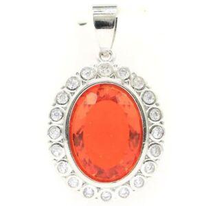 Hot Sell Orange Spessartine Garnet CZ Wholesale Drop Shipping Silver Pendant