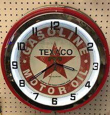 "18"" TEXACO Sign Gasoline Motor Oil Gas Station Double Neon Clock"