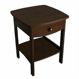 Winsome Wood Curved End table/Night Stand with one drawer