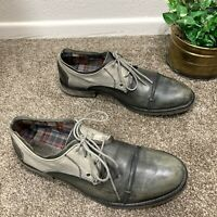 BED STU Repeal Oxfords Shoes Mens Size 9 Leather Distressed Fabric Cap Toe Green