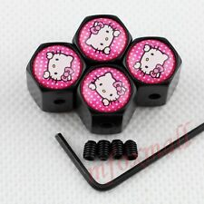 Car Trim Wheel Rim Tire Tyre Valve Stem Cap Cover Pink Hello kitty Badge Emblem