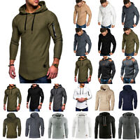 Mens Hooded Jumper Long Sleeve T-Shirts Hoodie Casual Sweatshirt Tops Pullover