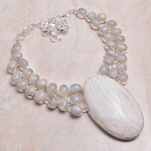 Rainbow Moonstone Handmade Big Necklace Jewelry 104 Gms LBN-3255