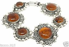 Amber Beaded Scroll Bracelet Mexico Vintage Style Taxco Mexican Sterling Silver