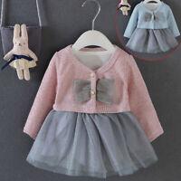 2 PCS Newborn Toddler Baby Girl Long Sleeve Party Princess Tutu Dress+Coat Sets
