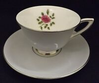 Royal Doulton Chateau Rose  Cup & Saucer  Gray & Pink Rose Design