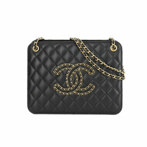 CHANEL Small Accordion Bag Chain Shoulder Bag Leather Black AS1751 90132515
