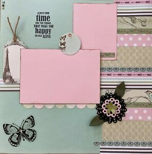 """Handmade Premade Scrapbook Page Layout ~ FEEL ALIVE ~ 12"""" x 12"""""""