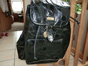 Großer Handtaschenrucksack, Schwarz, Lack, PICARD...
