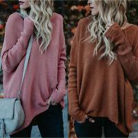 Women Loose Long Sleeve Sweater Ladies Sweatshirt Jumper Pullover Tops Blouse US