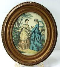 """Antique 19th Cent Oval Gold Gesso Frame 8"""" x 7"""" SZL Leroy Imp Paris Print 1920s"""