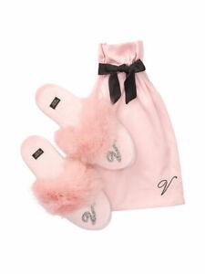 Victoria's Secret Bling Velvet Faux Fur Trim Slippers Pink NWT