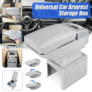 Car Center Console Armrest Storage Box Rotatable W/ Cup Holder Ashtray Universal