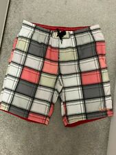 NEW FIREFLY MENS PINK & GREY CHECKED DESIGN SWIMMING SHORTS / BEACH SHORTS - XL