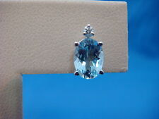 1.50 CARAT AQUAMARINE STUD EARRINGS WITH DIAMONDS CLASSIC 14 K. WHITE GOLD