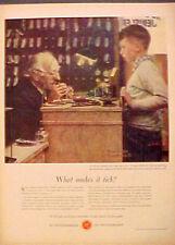 "1958 ""Norman Rockwell"" Watchmakers Switzerland Swiss Watch 10 1/4 x 13 Art Ad"
