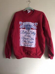 Vintage Budweiser Christmas Sweatshirt Happy Alcoholidays Size Large Red