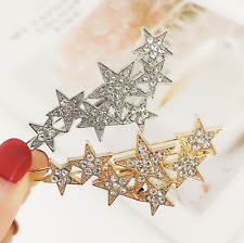Women 7 Stars Rhinestone Crystal Hair Clips Clamp Barrette Slide Grips Hair Clip
