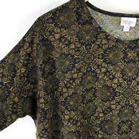 Lularoe Irma Shirt Medium Womens Floral Medallion Stretch Hi Low Blue Gold Top
