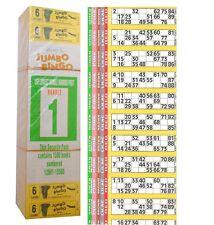 1500 libros juego de página 6 tiras de 12 TV Jumbo Bingo billete Hoja Grande números en negrita