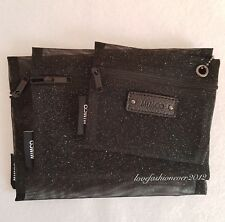 FREE POST MIMCO Black Sparks Mesh Pouches 3 in 1 Set Cosmetic Bag Organiser BN