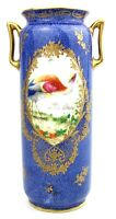 Early 20th C. Royal Doulton Pheasant Vase Twin Handled Blue Gilt c.1923-27