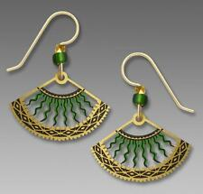 Adajio Earrings - Green and Gold Fan with Curved Bolts Handmade in USA 7657