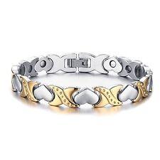 Women's Stainless Steel Silver Gold Tone Cuff Bangle Love Heart Charm Bracelet