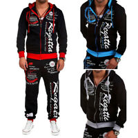 2PCS Mens Running Zip Tracksuit Fleece Sweatshirt Pants Jogging Joggers Gym Suit