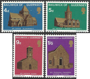 GUERNSEY 1970 CHURCHES, Series 1 (4) Unhinged Mint SG 40-43