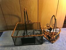 Green Wire & Wicker Basket Set of 2 Heart & Rectangle Design With Wooden Handle