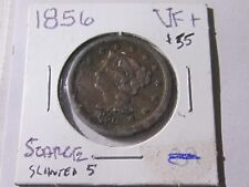 """1856 Braided Hair Large Cent,  Slanted """"5""""   Very Fine+ Cond    Collectible Lot"""