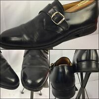 Jones Bootmakers Dress Shoes Size 9.5 Black Leather Smooth Toe Buckle EUC YGI