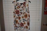 Karen Kane Womens Shirt Top Blouse Cream Brown Gold Asymetric Floral Size Large
