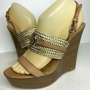 Coach Beatriz Women Sz 8.5 Wedge Heel Platform Sandal Gold Tan Brown Slingback