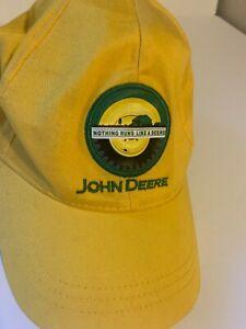 John Deere Adjustable Strap back Baseball Hat Cap Tractor Farm Yellow USA