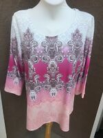 New Chico's Zenergy Kayla Ombre Motif Embellished Pink Top Shirt 3 XL 16 18 NWT