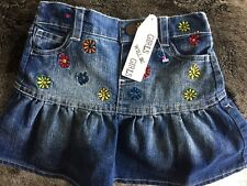Girls size 2 Denim Skirt with Embroidered Flowers New Very Very cute RP $23