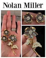 Vintage Jewelry NOLAN MILLER Grey Flower BROOCH PIN EARRINGS Rhinestone Set