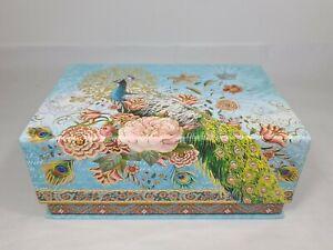 Punch Studio Rectangle Flip Top Nesting Box 8x5 Peacock Floral Gold Foil 68650